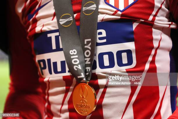 Detail View of the winners medal of Antoine Griezmann of Atletico Madrid at the end of the UEFA Europa League Final between Olympique de Marseille...