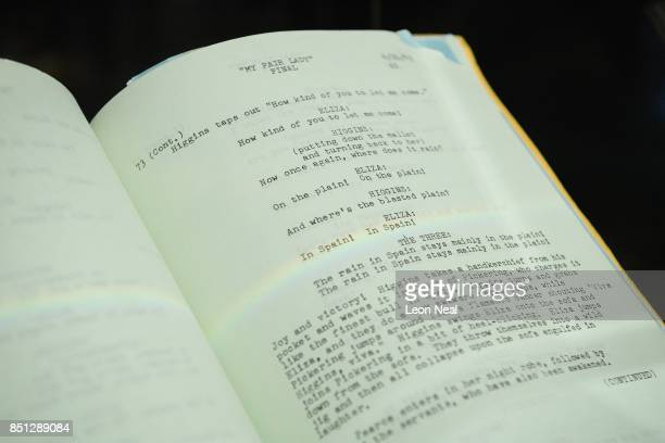 A detail view of the working script for the film 'My Fair Lady' is seen during a preview of items from the sale of actrees Audrey Hepburn's personal...