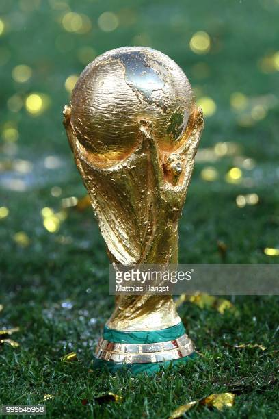 A detail view of the World Cup trophy following the 2018 FIFA World Cup Final between France and Croatia at Luzhniki Stadium on July 15 2018 in...