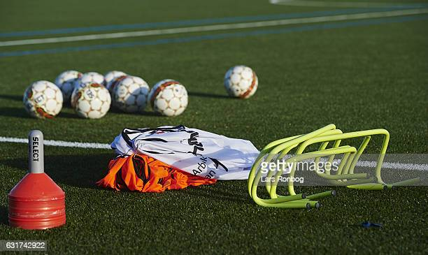 Detail view of training equipment prior to the preseason friendly match between Brondby IF and KFUM Roskilde at Brondby Stadion on January 15 2017 in...