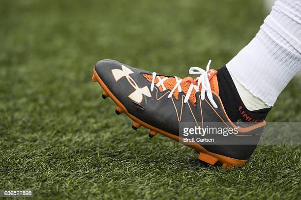 Detail view of Under Armour cleats worn by a member of the Cleveland Browns before the game against the Buffalo Bills on December 18, 2016 at New Era...