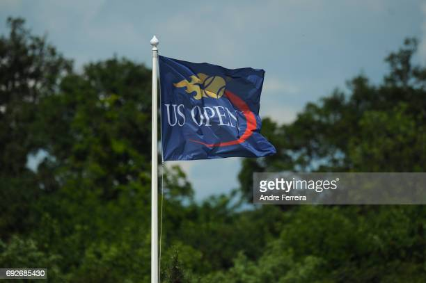 Detail view of US Open flag during the day 9 of the French Open at Roland Garros on June 5 2017 in Paris France