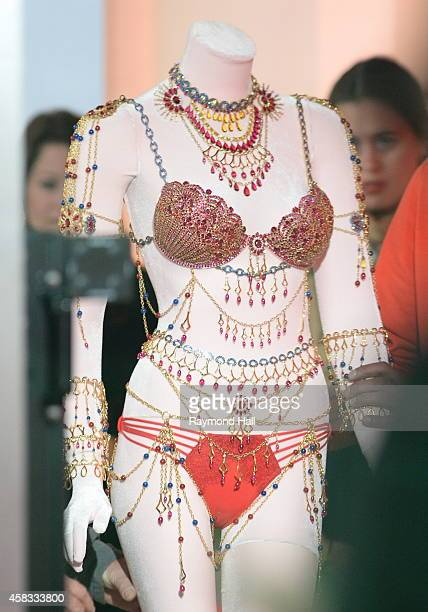 """Detail view of Victoria's Secret bejeweled $2.5 million Dream Angels Fantasy Bras at the """"Good Morning America"""" taping at the ABC Times Square..."""