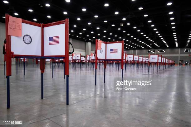 Detail view of voting booths during Tuesdays Kentucky primary election on June 23, 2020 in Louisville, Kentucky. The Kentucky Exposition Center is...