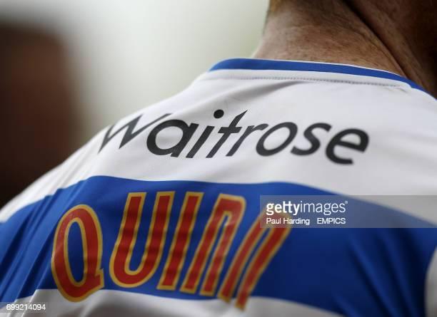 Detail view of Waitrose sponsorship branding on the back of Reading shirts