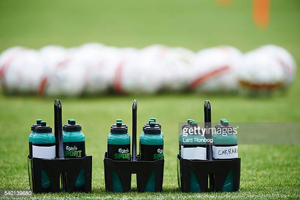 Detail view of water bottles and footballs during the Brondby IF training session at Brondby Stadion on June 14 2016 in Brondby Denmark