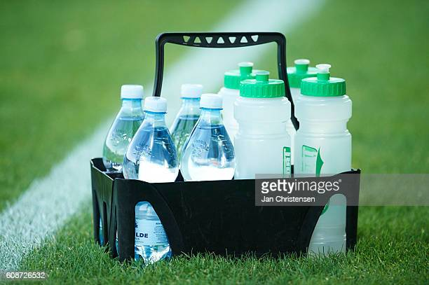 Detail view of water bottles prior to the Danish Alka Superliga match between Lyngby BK and AaB Aalborg at Lyngby Stadion on September 19 2016 in...