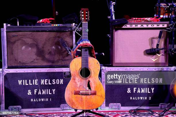 Detail view of Willie Nelson's Martin guitar Trigger during the Luck Welcome dinner benefitting Farm Aid on March 14 2018 in Spicewood Texas