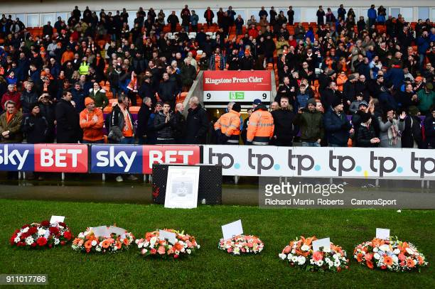 Detail View of wreaths laid in the goal mouth in front of the Armfield stand to honour the late Jimmy Armfield during the Sky Bet League One match...