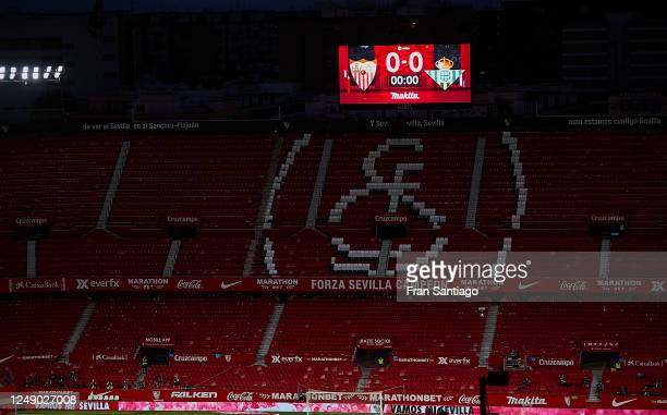 Detail view outside the empty stadium during the Liga match between Sevilla FC and Real Betis at Ramon Sanchez Pizjuan on June 11, 2020 in Seville,...