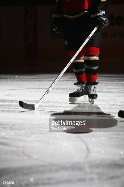 A detail view shows a Calgary Flames player standing on the ice before the game against the Detroit Red Wings in Game 6 of the 2007 Western...