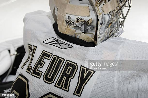 A detail view shows the back of the facemask of MarcAndre Fleury of the Pittsburgh Penguins during the game against the Philadelphia Flyers at the...
