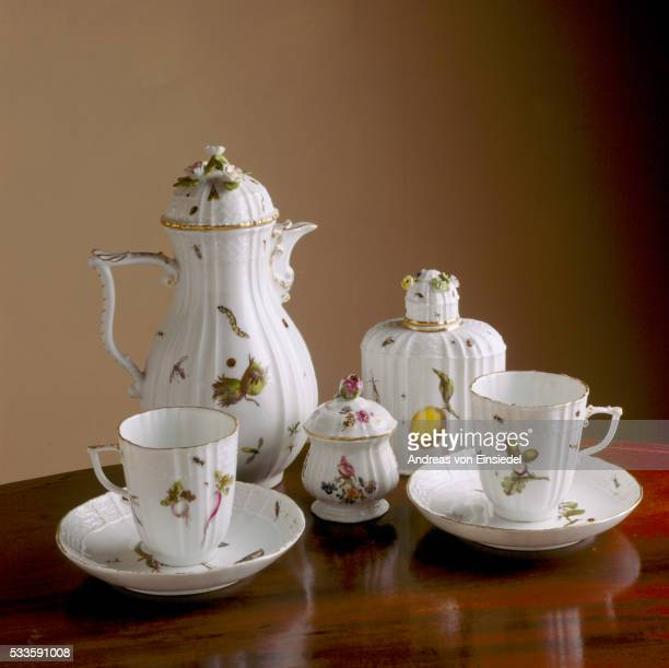 a detailed close up of a meissen coffee set at wallington, northumberland - morpeth stock pictures, royalty-free photos & images