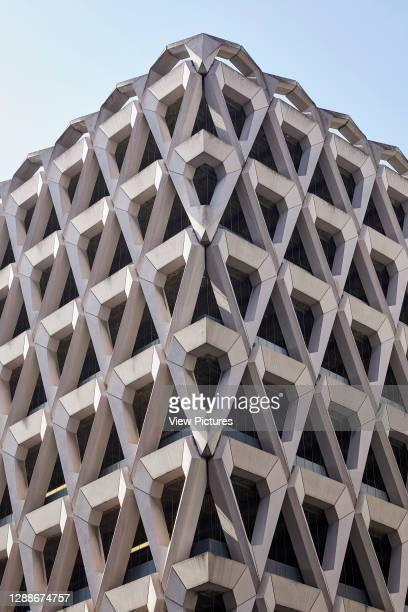 Detailed corner elevation. Welbeck Street Car Park, London, United Kingdom. Architect: Michael Blampied and Partners, 1070.