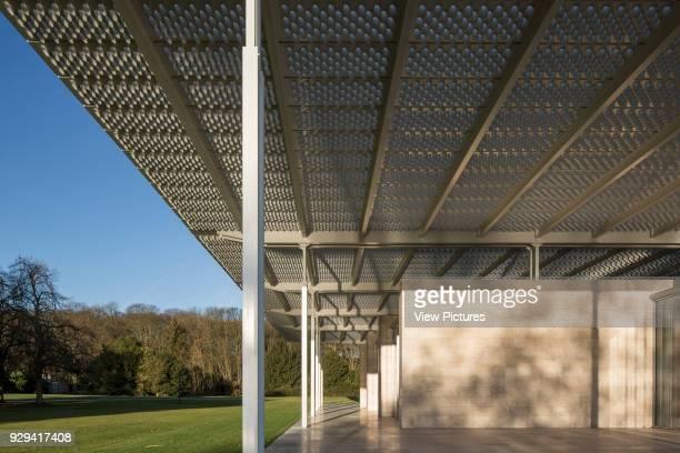 Detailed elevation with roof overhang steel colonnade and stone facade Museum Voorlinden Wassenaar Netherlands Architect kraaijvanger architects 2016