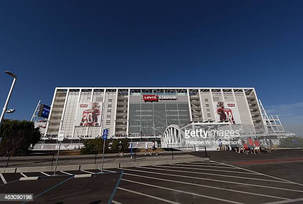 A detailed exterior view of Levi Stadium prior to an MLS Soccer game between the Seattle Sounders and San Jose Earthquates at Levi's Stadium on...