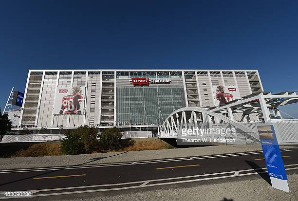 A detailed exterior view of Levi Stadium prior to an MLS Soccer game between the Seattle Sounders FC and San Jose Earthquates at Levi's Stadium on...