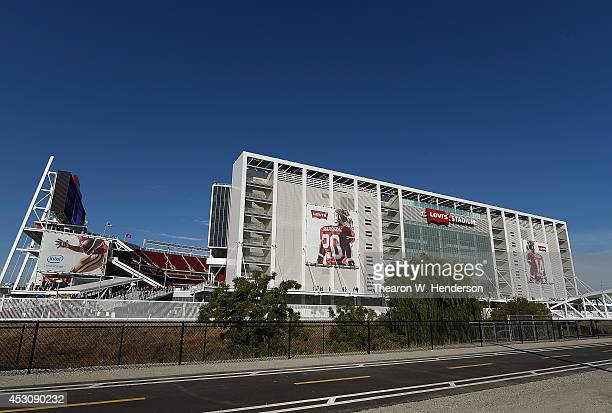 Detailed exterior view of Levi Stadium prior to an MLS Soccer game between the Seattle Sounders FC and San Jose Earthquates at Levi's Stadium on...