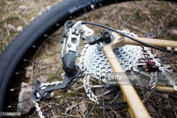 a detailed image of a mountain bike rear wheel and rear derailleur. - 変速ギア ストックフォトと画像