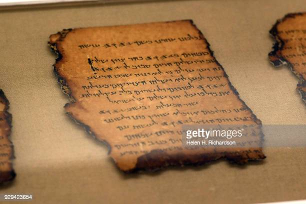 A detailed image of one of the Dead Sea Scrolls that will be on display as part of the upcoming Dead Sea Scrolls exhibit opening soon at the Denver...