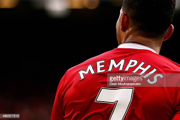 Detailed look and the shirt and number 7 worn by Memphis Depay of Manchester United during the Barclays Premier League match between Manchester...