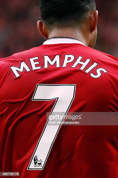 A detailed look and the shirt and number 7 worn by Memphis Depay of Manchester United during the Barclays Premier League match between Manchester...
