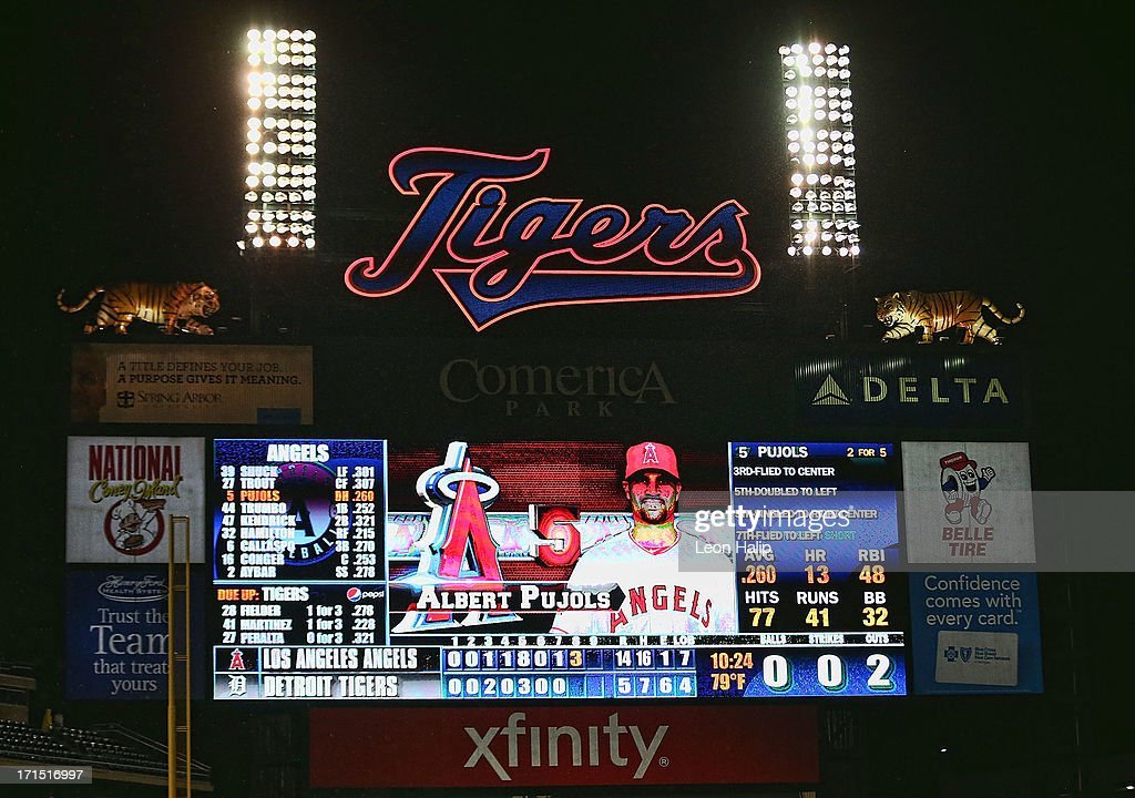 A detailed look at the Comerica scoreboard showing six errors by the Detroit Tigers during the game against the Los Angeles Angels of Anaheim at Comerica Park on June 25, 2013 in Detroit, Michigan. The Angeles defeted the Tigers 14-8.