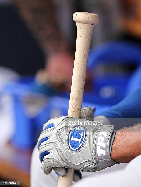 A detailed look at the Louisville Slugger TPX Batting Gloves during the game between the Toronto Blue Jays and the New York Yankees at George M...