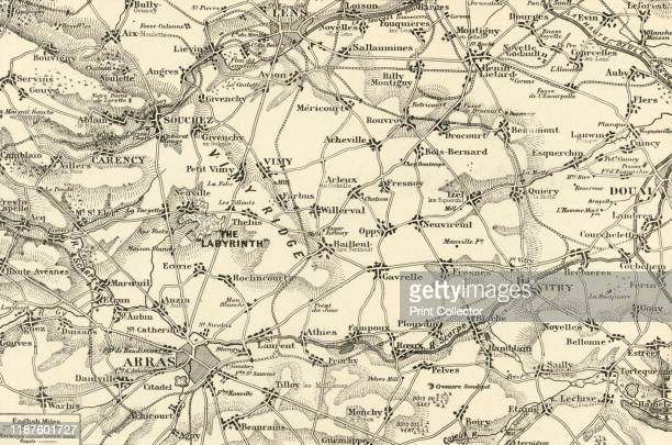 Detailed Map of the Arras Fighting Area' 1917 From The War Illustrated Album De Luxe Volume VIII Ending The First Three Years edited by J A Hammerton...