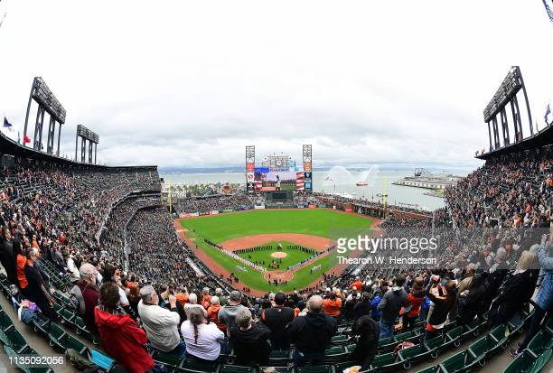 Detailed over view of inside Oracle Park while the Tampa Bay Rays and San Francisco Giants stand for the National Anthem prior to the start of their...