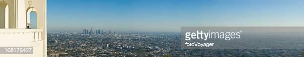 detailed panoramic of los angeles - smog stock pictures, royalty-free photos & images