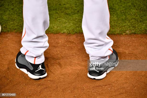 A detailed photo of the Nike Air Jordan shoes of Brian Miller during his to visit Marlins Park for a press conference before the game between the...
