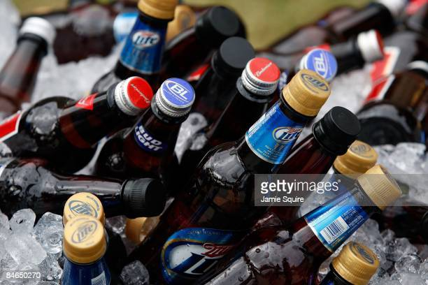 Detailed picture of bottles of beer before Super Bowl XLIII between the Arizona Cardinals and the Pittsburgh Steelers on February 1, 2009 at Raymond...