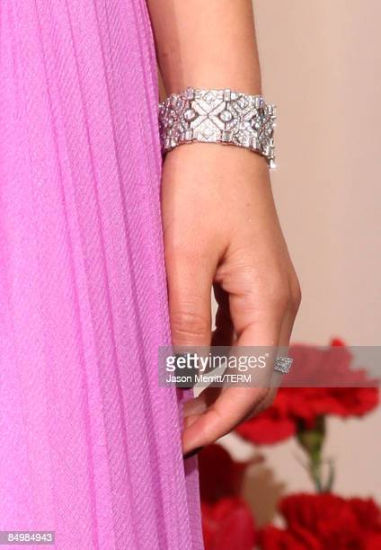 A detailed picture of the bracelet of actress Natalie Portman in the press room at the 81st Annual Academy Awards held at Kodak Theatre on February...