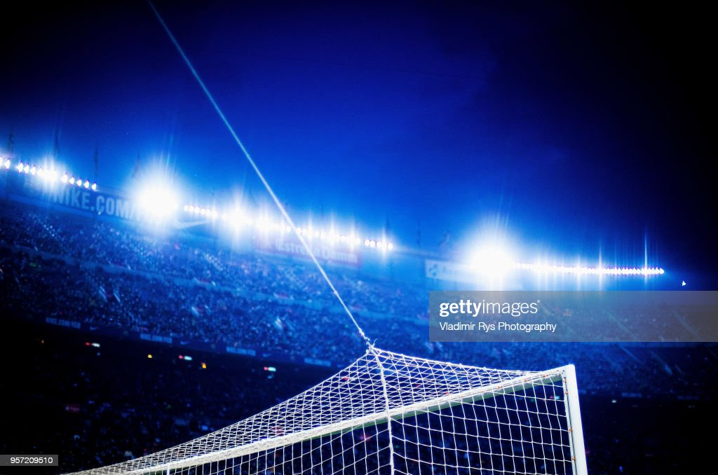 A detailed picture of the goal is seen during the La Liga match between FC Barcelona and Villareal CF at the Camp Nou stadium on May 09, 2018 in Barcelona, Spain.