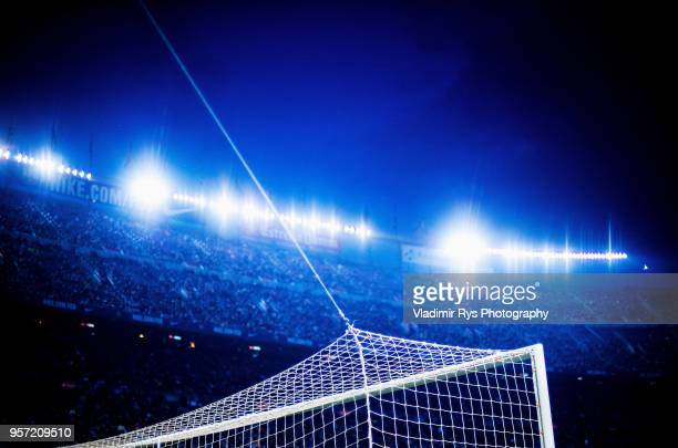 Detailed picture of the goal is seen during the La Liga match between FC Barcelona and Villareal CF at the Camp Nou stadium on May 09, 2018 in...