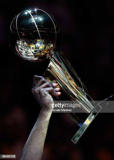A detailed picture of the Larry O'Brien trophy after the Lakers defeated the Orlando Magic 9986 in Game Five of the 2009 NBA Finals on June 14 2009...