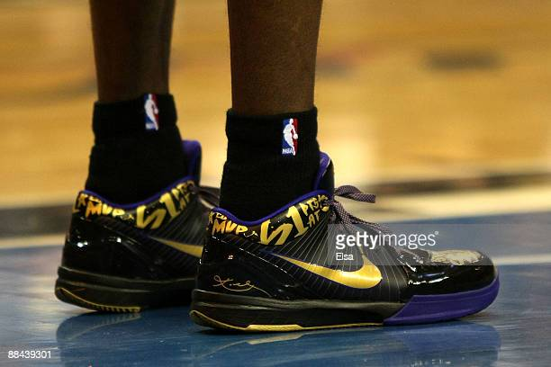 A detailed picture of the Nike shoes of Kobe Bryant of the Los Angeles Lakers in the third quarter of Game Four of the 2009 NBA Finals against the...
