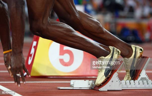 A detailed picture of the shoes of Usain Bolt of Jamaica as he competes in the Men's 200m Heats at the National Stadium on Day 10 of the Beijing 2008...
