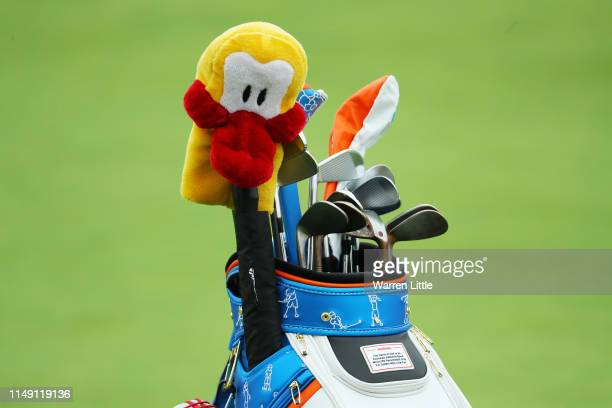 Detailed shot of a golf bag belonging to Lucas Herbert is seen during a practice round prior to the 2019 PGA Championship at the Bethpage Black...