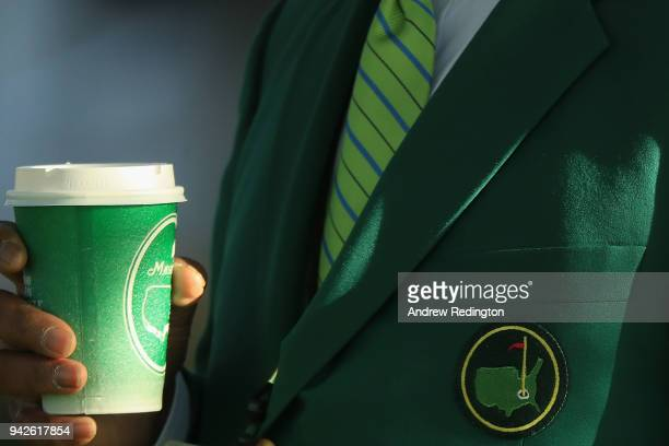 A detailed shot of a Masters cup and logo is seen during the second round of the 2018 Masters Tournament at Augusta National Golf Club on April 6...