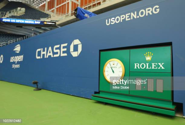 A detailed shot of a serve clock is seen in Louis Armstrong Stadium prior to the start of the 2018 US Open at the USTA Billie Jean King National...