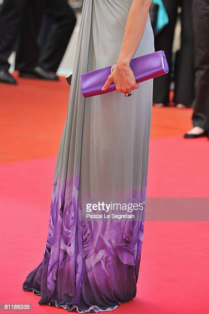 Detailed shot of actress Michelle Yeoh's clutch bag as she arrives at the 'Che' Premiere at the Palais des Festivals during the 61st International...