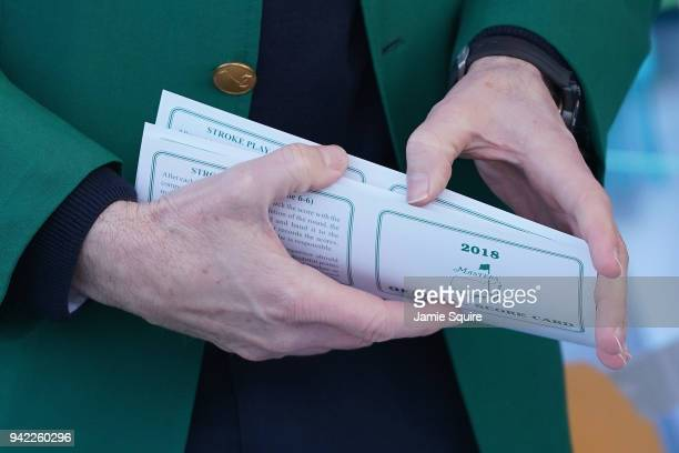 A detailed shot of an official score card is seen during the first round of the 2018 Masters Tournament at Augusta National Golf Club on April 5 2018...