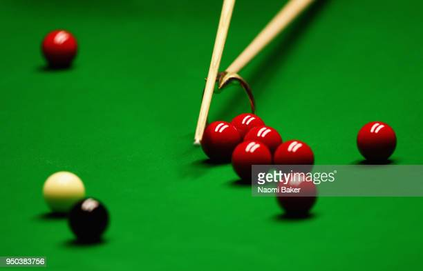 A detailed shot of Shaun Murphy of England takes a shot during his first round match against Jamie Jones of Wales during day three of the World...