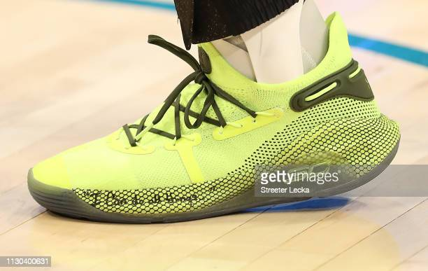 A detailed shot of shoes worn by Stephen Curry of the Golden State Warriors and Team Giannis are seen before taking on Team LeBron during the NBA...