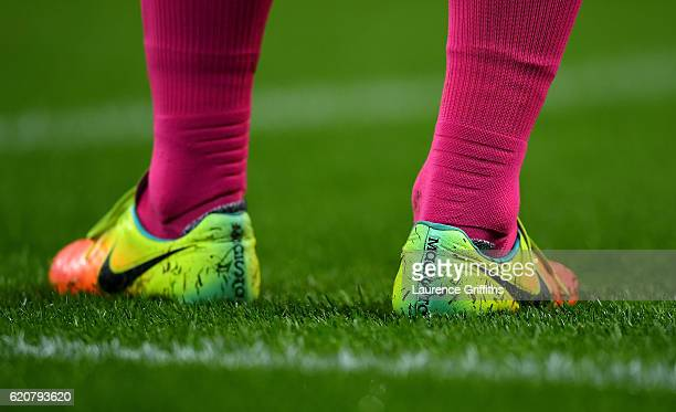 A detailed shot of the boots of Javier Mascherano of Barcelona during the UEFA Champions League match between Manchester City FC and FC Barcelona at...