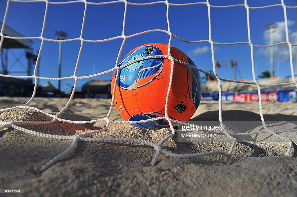 A detailed shot of the FIFA World Beach Soccer Championship ball at the To'ata Stadium on September 17, 2013 in Papeete, French Polynesia.