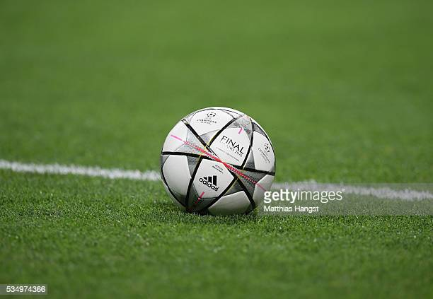 A detailed shot of the match ball during the UEFA Champions League Final match between Real Madrid and Club Atletico de Madrid at Stadio Giuseppe...