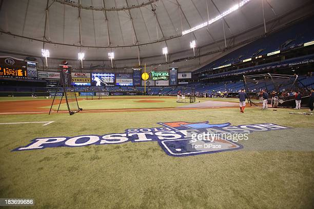 A detailed shot of the Postseason logo on the field during batting practice before Game 4 of the American League Division Series between the Tampa...